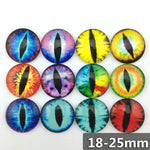 18mm 20mm 25mm One Eye Round Glass Cabochon Mixed Pattern Fit Cameo Base Setting