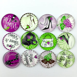 18mm 20mm 25mm Girl Fashion Round Glass Cabochon Mixed Pattern Fit Cameo Base Setting