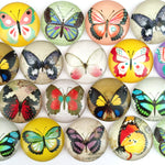 18mm 20mm 25mm Round Photo Glass Cabochon Mixed Butterfly Pattern Fit Cameo Base Setting