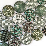 18mm 20mm 25mm Flower Leaves Round Glass Cabochon Mixed Pattern Fit Cameo Base Setting