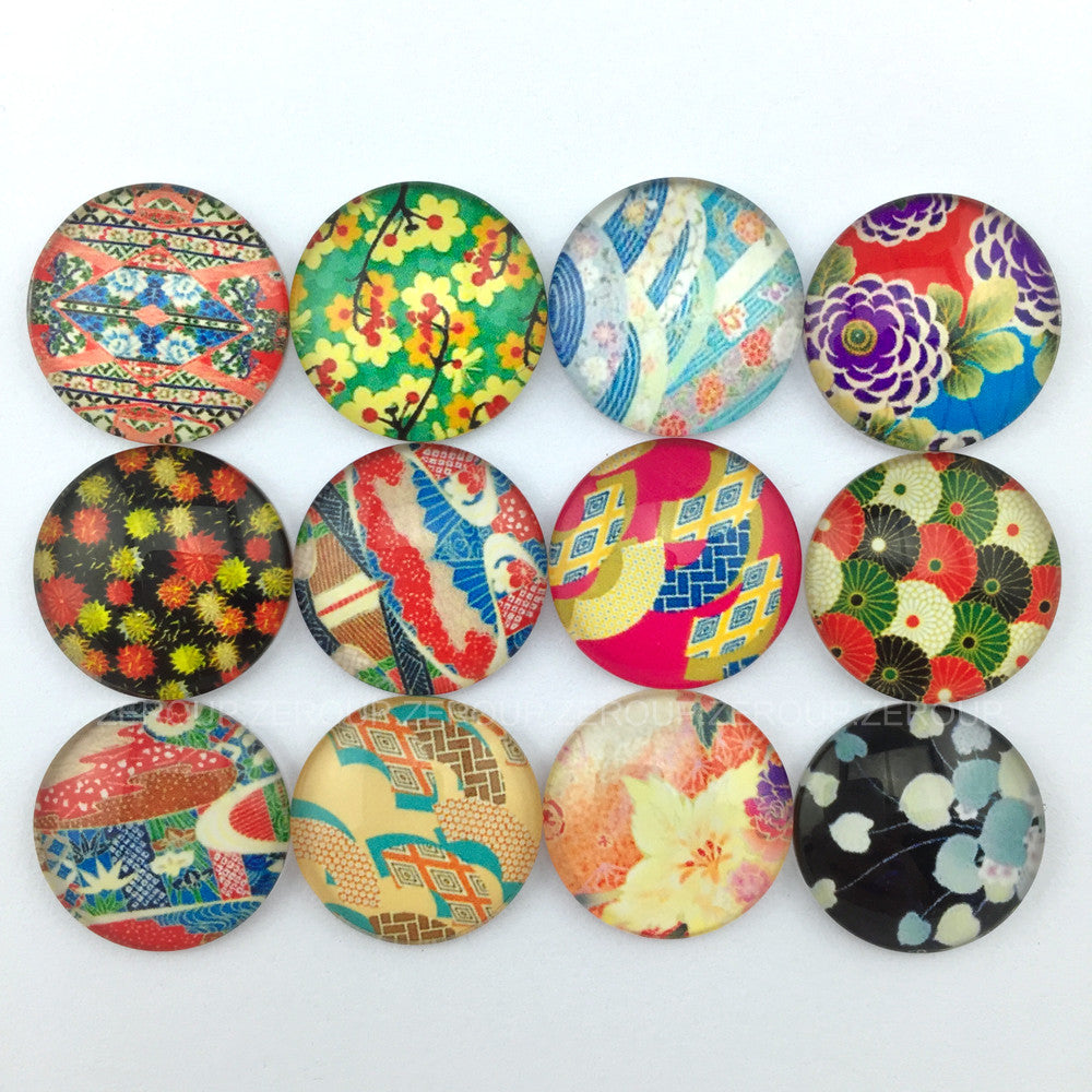 18mm 20mm 25mm Flowers Round Glass Cabochon Mixed Pattern Fit Cameo Base Setting