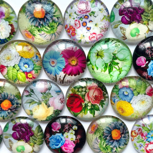 10mm 20mm 25mm Flowers Round Glass Cabochon Mixed Pattern Fit Cameo Base Setting