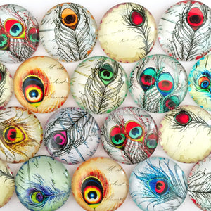 18mm 20mm 25mm One Eye Leave Round Glass Cabochon Mixed Pattern Fit Cameo Base Setting