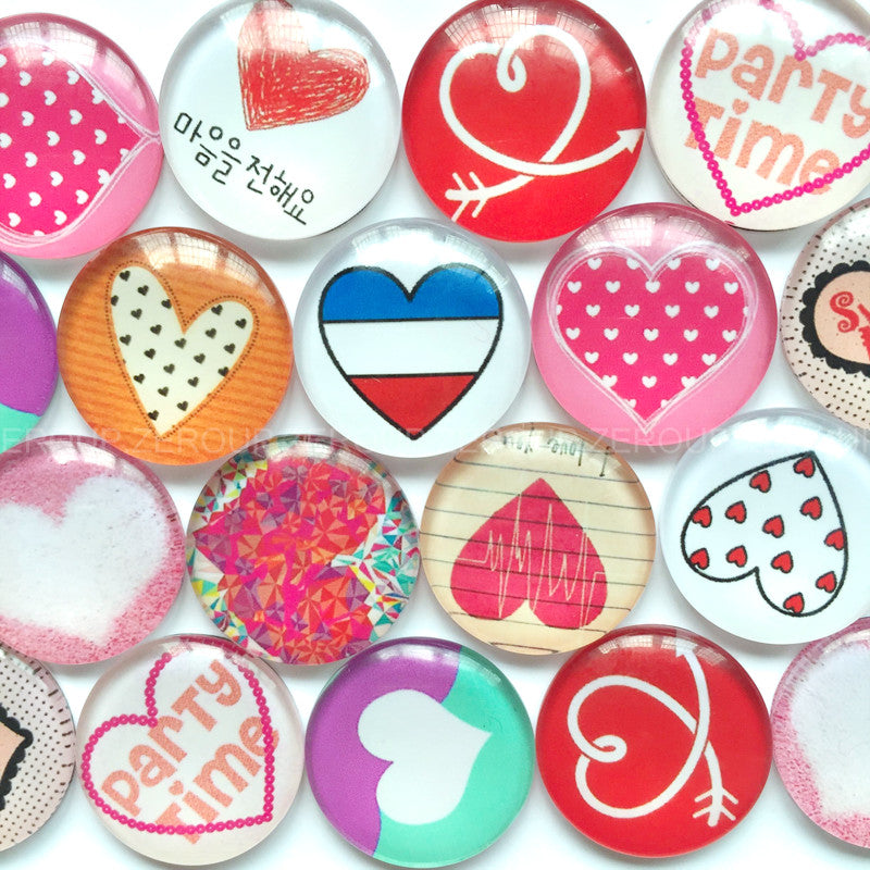 18mm 20mm 25mm Heart Love Round Glass Cabochon Mixed Pattern Fit Cameo Base Setting