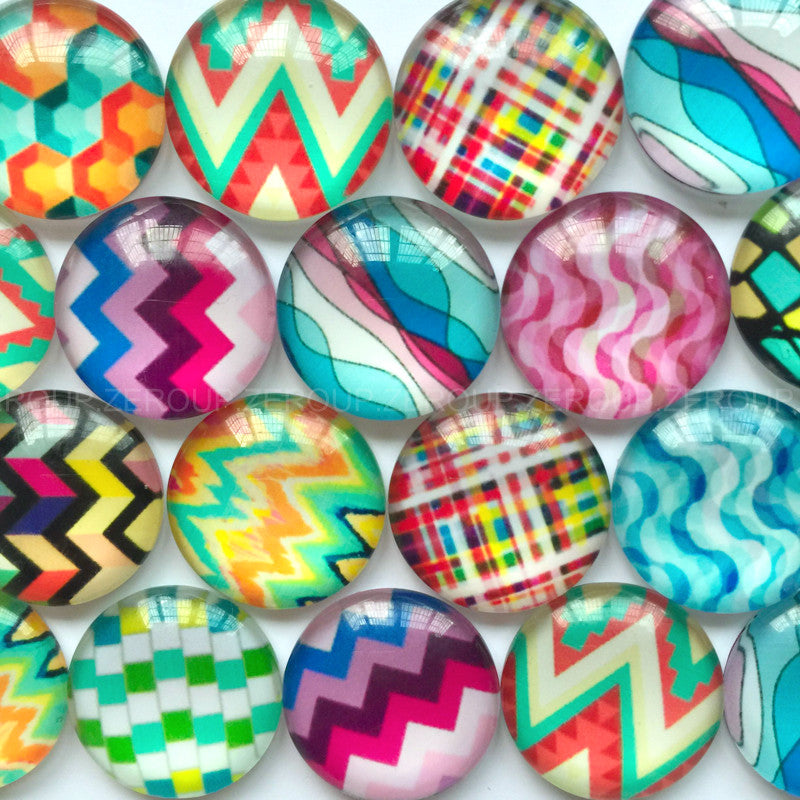 18mm 20mm 25mm Colorful Zigzag Round Glass Cabochon Mixed Pattern Fit Cameo Base Setting