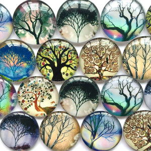 18mm 20mm 25mm Round Photo Glass Cabochon Mixed Trees Pattern Fit Cameo Base Setting