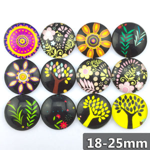 18mm 20mm 25mm Round Glass Cabochon Assorted Mixed Pattern Fit Cameo Base Setting