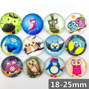 18mm 20mm 25mm Round Glass Cabochon Owl Sketches Mixed Style Fit Cameo Base Setting