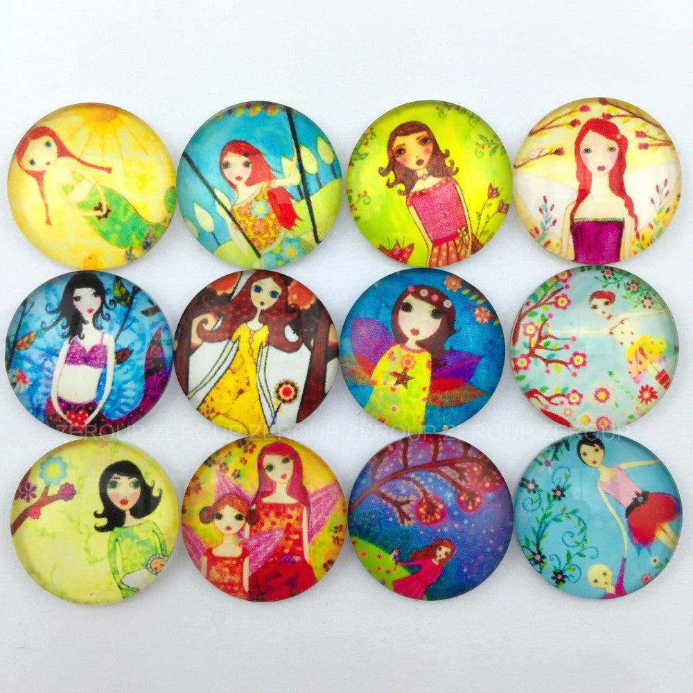 18mm 20mm 25mm Round Glass Cabochon Girl Sketches Designs Mixed Style Fit Cameo Base Setting