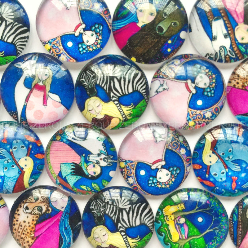 18mm 20mm 25mm Girl Horse Round Glass Cabochon Mixed Pattern Fit Cameo Base Setting