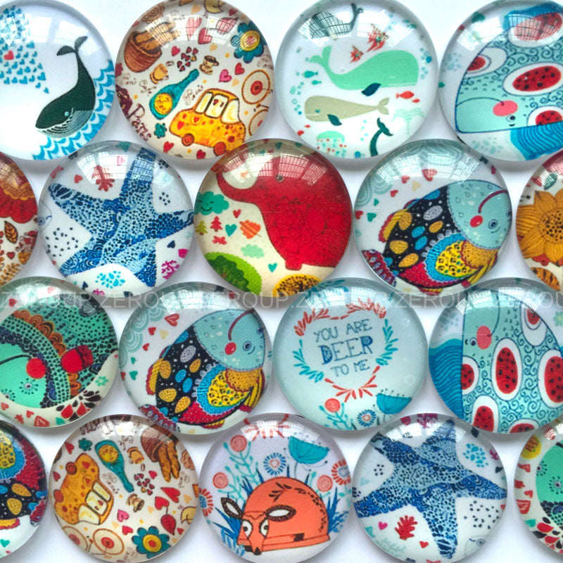 18mm 20mm 25mm Sea Creatures Round Glass Cabochon Mixed Pattern Fit Cameo Base Setting