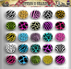 25pcs 25mm 1 inch Bottle Cap Resin Cameo Cabochon. Animal Print 2