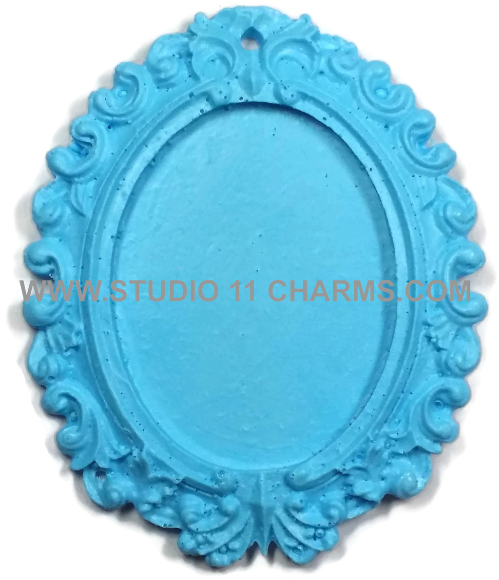 Resin Frame Setting Bezel Victorian Vintage Style Oval fit 40x30 center Blue 1.1