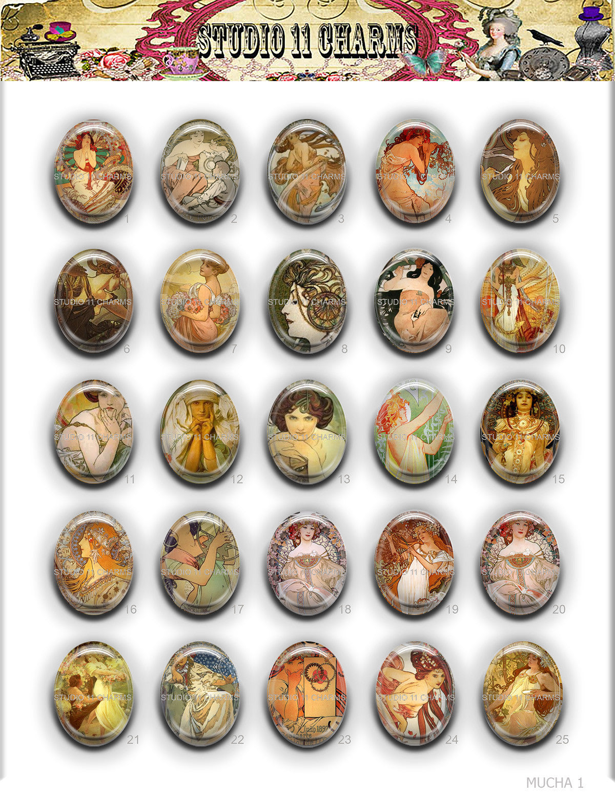 40x30, 18x25, 13X18 Resin Cameo LOW DOME Cabochon. Alfred Mucha 1
