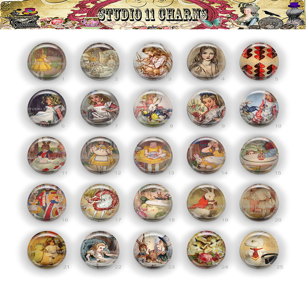 25mm 1 inch Bottle Cap Resin Cameo Cabochon. Alice in Wonderland 31