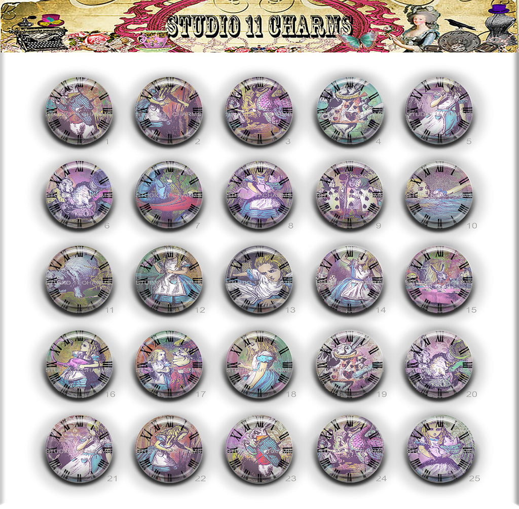25mm 1 inch Bottle Cap Resin Cameo Cabochon. Alice in Wonderland 2b Color Clock