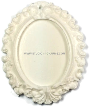 12pcs Resin Frame Setting Bezel Victorian Oval fit 40x30 cameo White 1.3