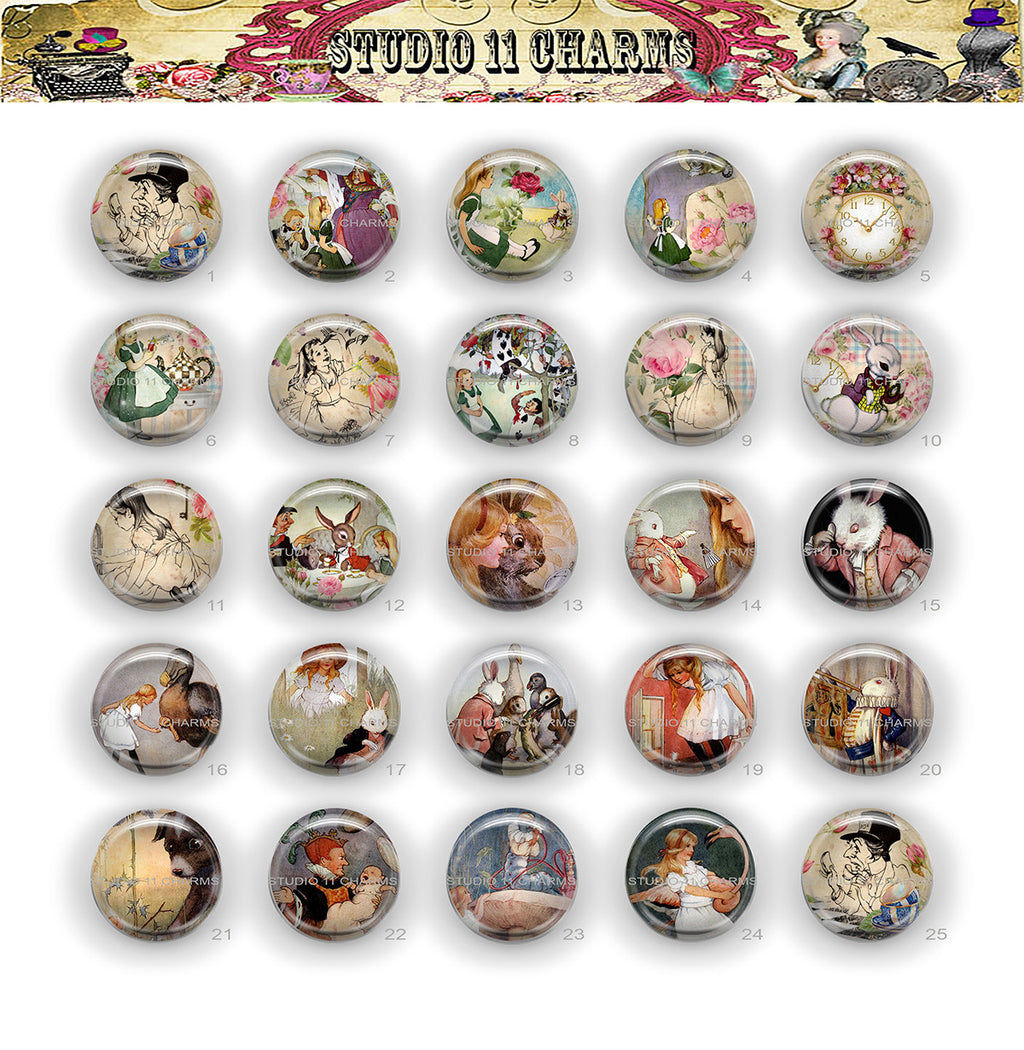 25mm 1 inch Bottle Cap Resin Cameo Cabochon. Alice in Wonderland 20
