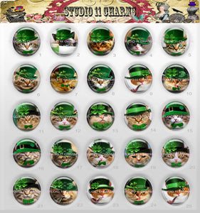 25pcs 25mm 1 inch Bottle Cap Resin Cameo Cabochon. Cats 10 St Patricks
