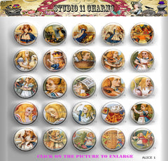 25pcs 25mm 1 inch Bottle Cap Resin Cameo Cabochon. Alice In Wonderland 1