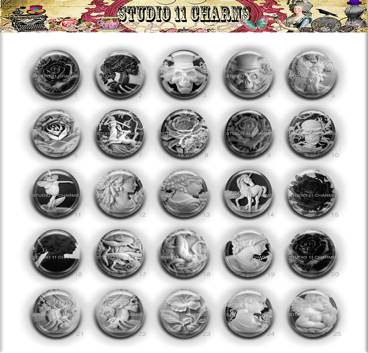 25pcs 25mm 1 inch Bottle Cap Resin Cameo Cabochon. Cameo 1b