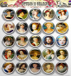 25mm 1 inch Bottle Cap Resin Cameo Cabochon. Art 3 Lady Portrait