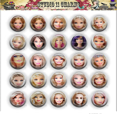 25pcs 25mm 1 inch Bottle Cap Resin Cameo Cabochon. Barbie 12 faces