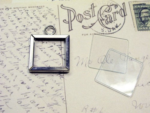 1x1 inch square Silver metal frame w/ 2 glass slides pendant charm KIT
