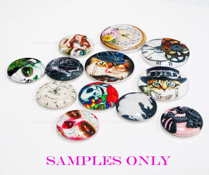 Buttons Badge Round, Pin Backs, Magnets, Flat Backs Cameo. Alice in Wonderland 5 Clock