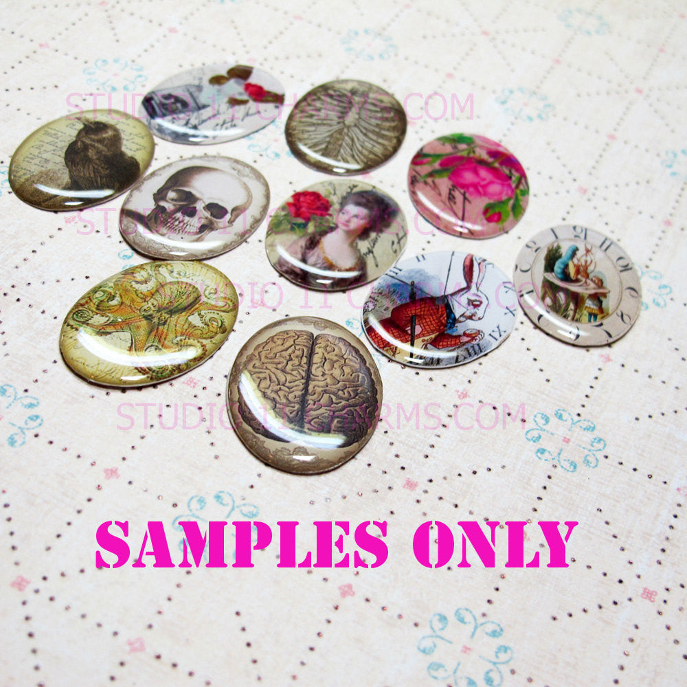 25pcs 40x30, 18x25, 25mm Resin Cameo LOW DOME Cabochon. Art Deco Mucha 2