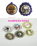 25pcs 25mm 1 inch Bottle Cap Resin Cameo Cabochon. Cemetery Ladies 1b