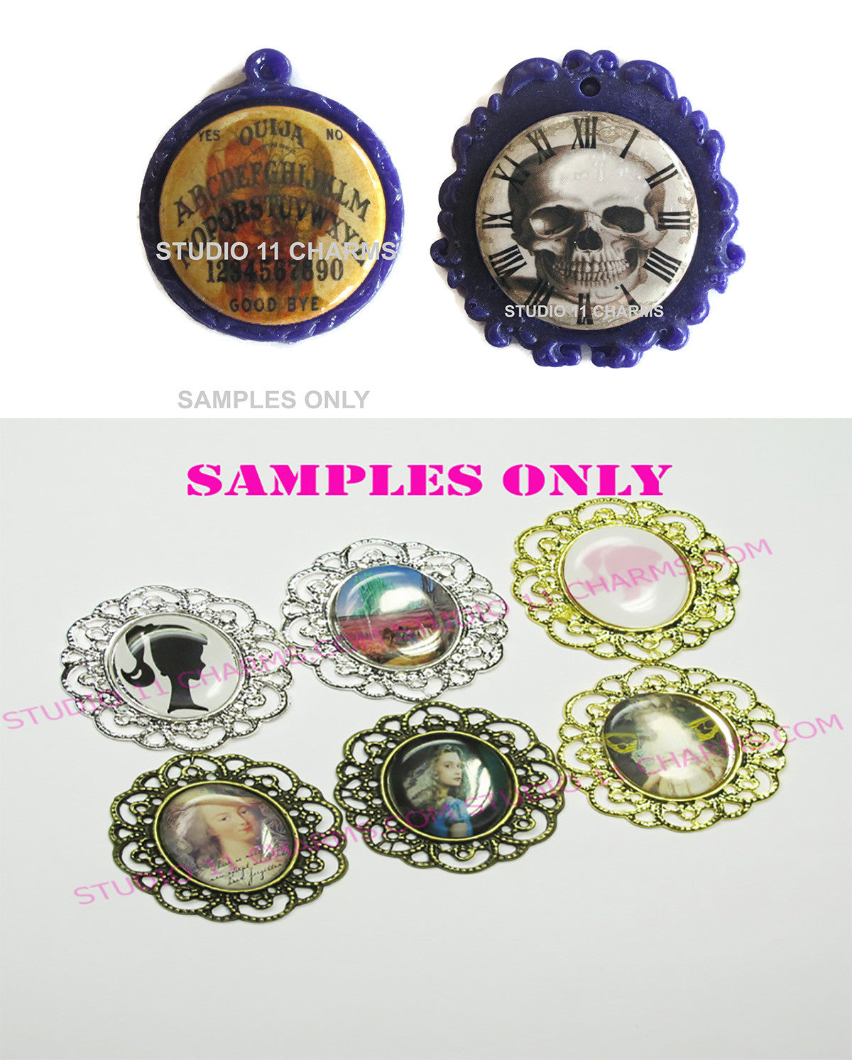25mm 1 inch Bottle Cap Resin Cameo Cabochon. Alice in Wonderland 5 Clock