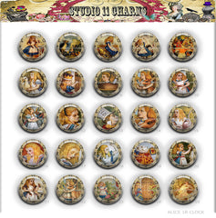 25pcs 25mm 1 inch Bottle Cap Resin Cameo Cabochon. Alice In Wonderland 1r backward clock