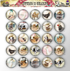 25pcs 25mm 1 inch Bottle Cap Resin Cameo Cabochon. Animal 11 Crown