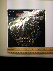 Iron On Art Applique. Rhinestones and studs. Crown