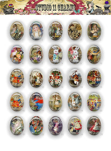 40x30, 18x25, 13X18 Resin Cameo LOW DOME Cabochon. Alice in Wonderland 15