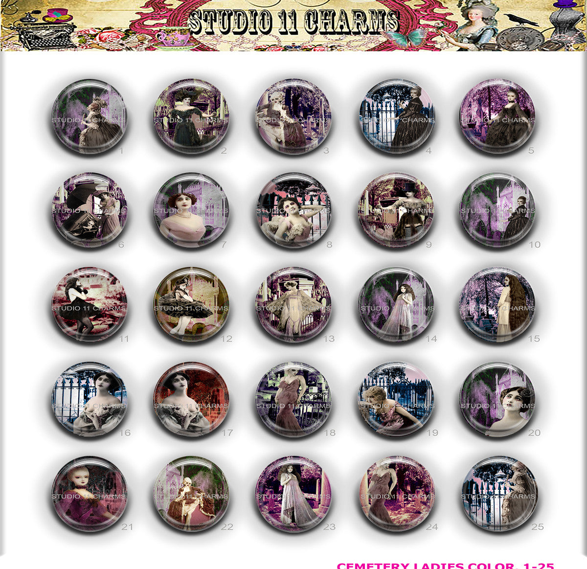25pcs 25mm 1 inch Bottle Cap Resin Cameo Cabochon. Cemetery Ladies 1