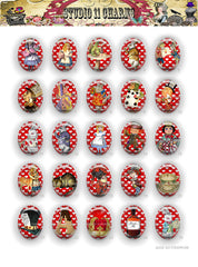 40x30, 18x25, 13X18 Resin Cameo LOW DOME Cabochon. Alice in Wonderland 42j red hearts