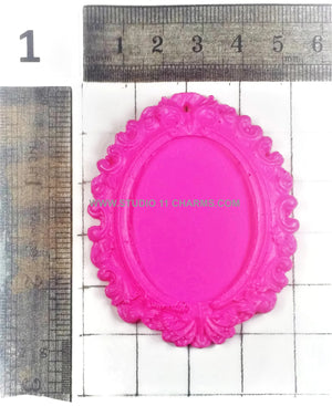 Resin Frame Setting Bezel Victorian Vintage Style Oval fit 40x30 center Pink 1.2