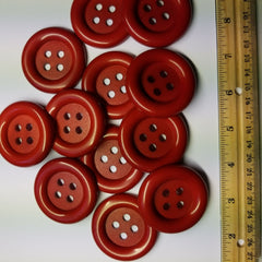 Vintage Large Buttons 2 inch Red Plastic for Sewing or craft