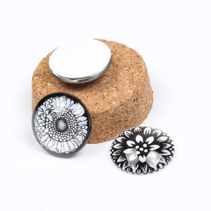 White Flower Round Dome Glass Cabochon 25mm 20mm Jewelry Findings Accessories