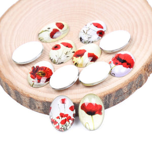 Poppy Flower Oval Glass Cabochon 18x25mm 30x40mm Jewelry Findings Accessories