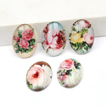 Rose Flower Oval Glass Cabochon 18x25mm Jewelry Findings Accessories