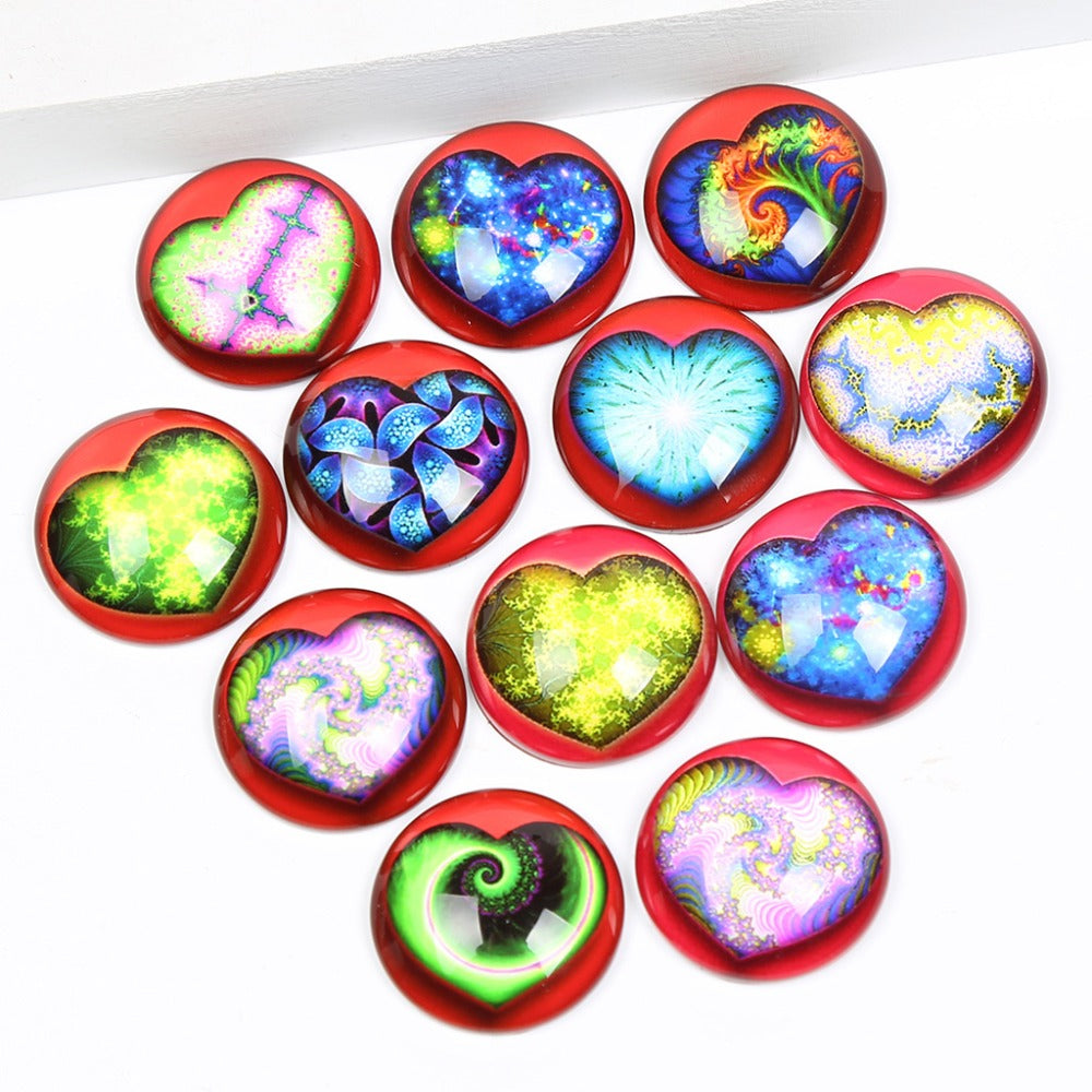 Heart Round Dome Glass Cabochon 12mm 20mm 25mm 30mm Jewelry Findings Accessories