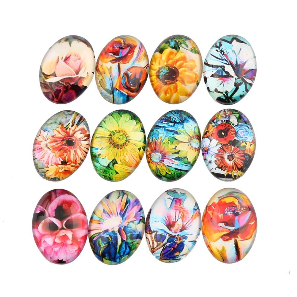 Colorful Flower Glass Cabochon 30x40mm 18x25mm 13x18mm Jewelry Findings Accessories