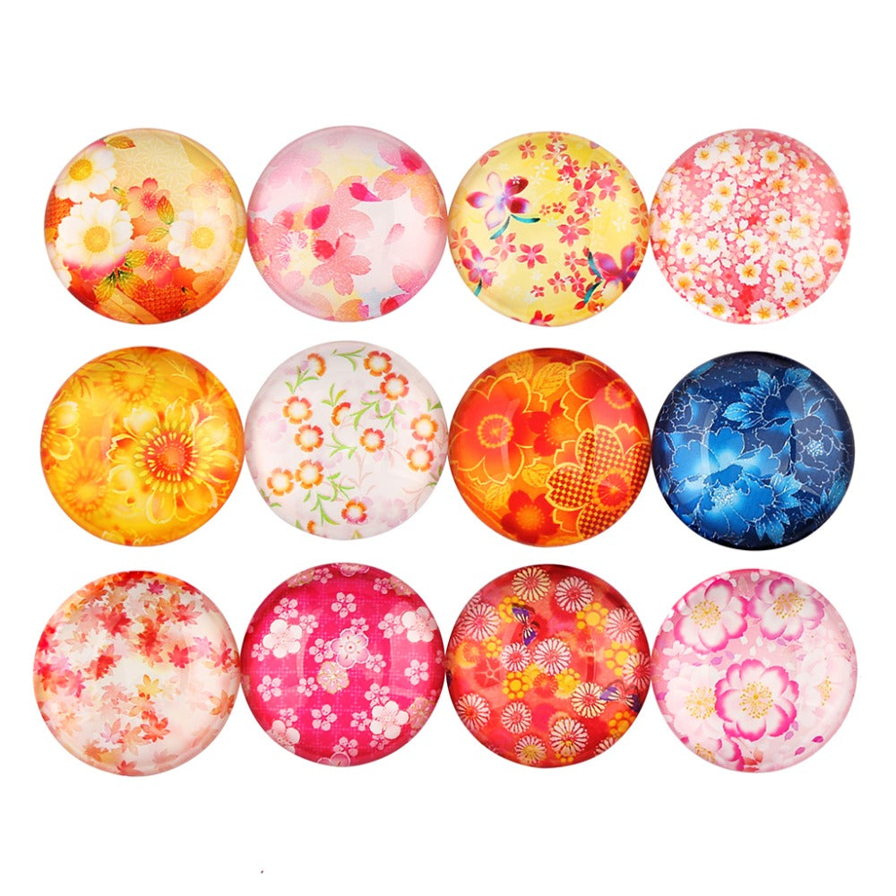 Flower Round Dome Glass Cabochon 12mm 14mm 16mm 18mm 20mm 25mm Jewelry Findings Accessories