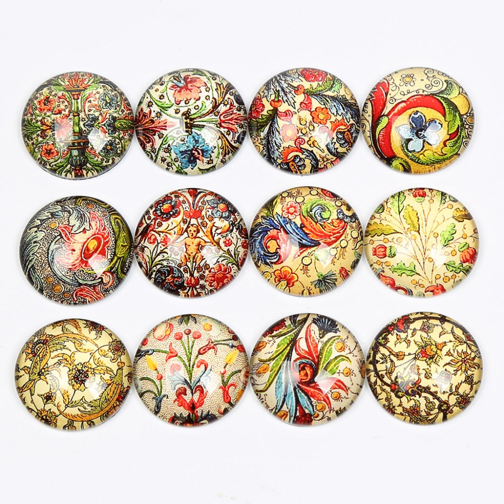 Mix Ornament Round Dome Glass Cabochon 12mm 14mm 18mm 20mm 25mm Jewelry Findings Accessories