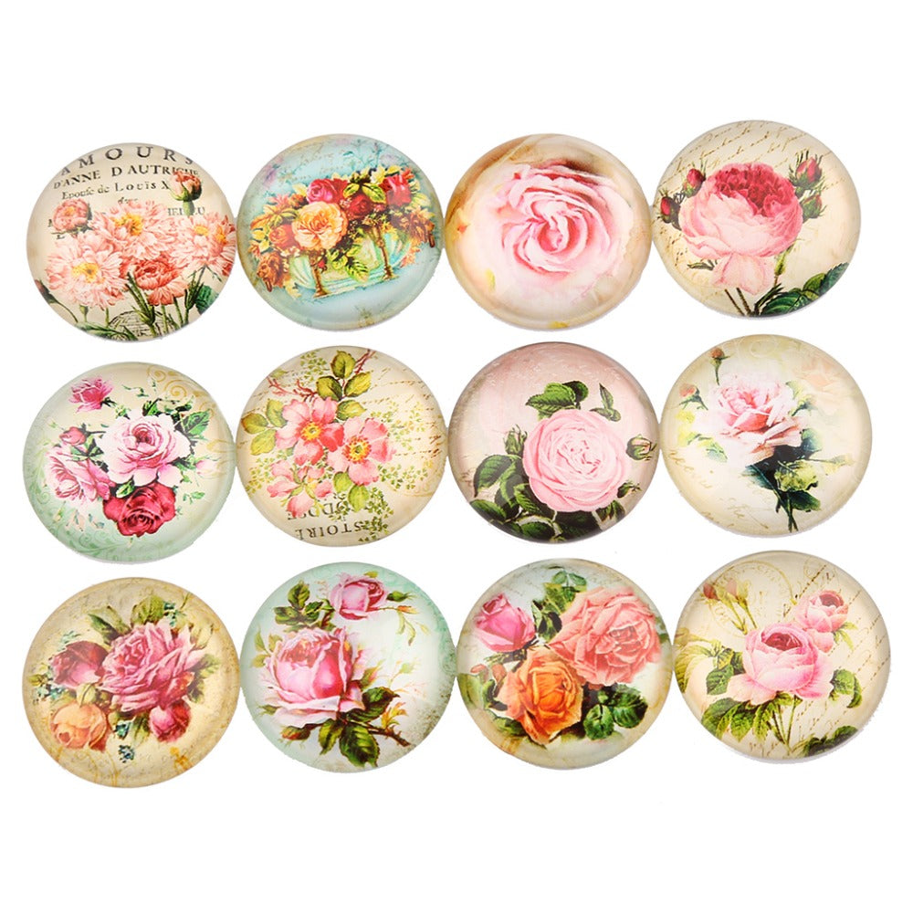 Rose Flower Dome Glass Cabochon 25mm 20mm 18mm 16mm 14mm 12mm 10mm Jewelry Findings Accessories