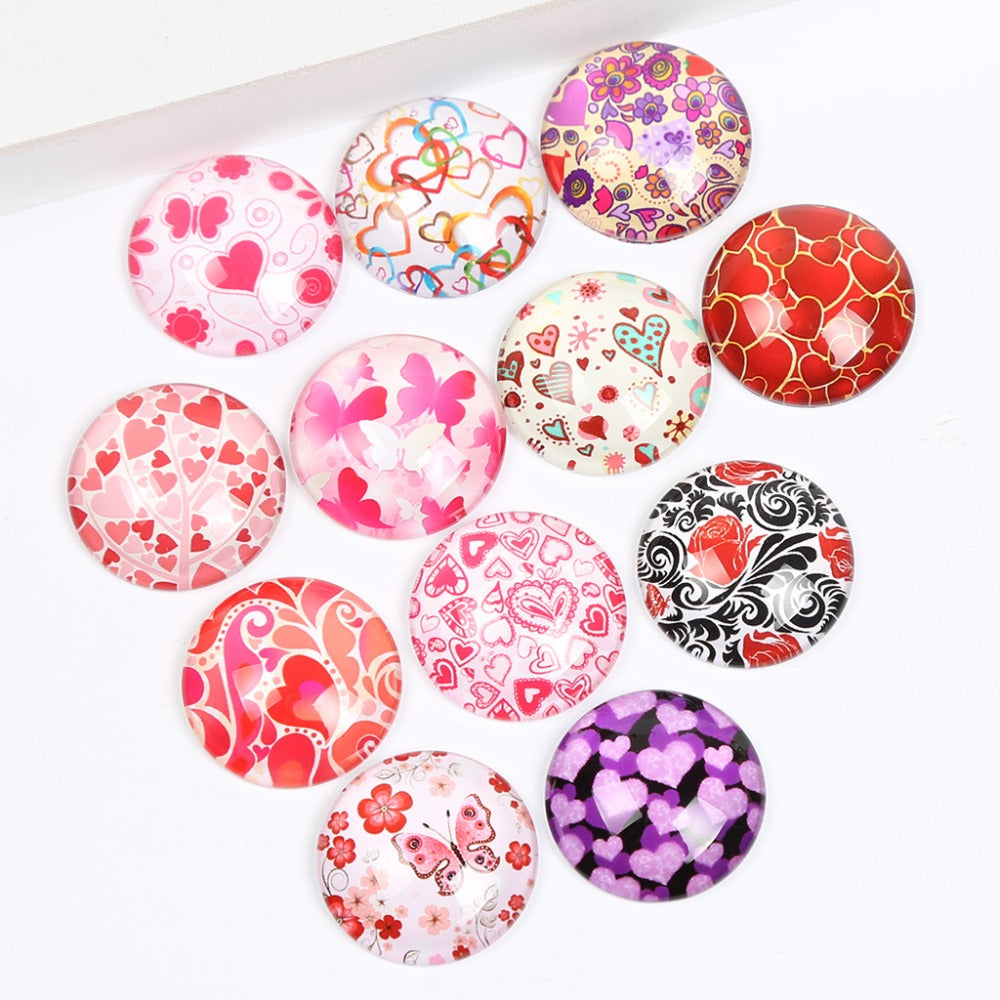 Valentine Heart Round Dome Glass Cabochon 25mm 20mm 18mm 14mm 12mm 10mm Jewelry Findings Accessories