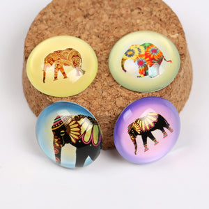 Elephant Round Dome Glass Cabochons 12mm 20mm 25mm Jewelry Findings Accessories